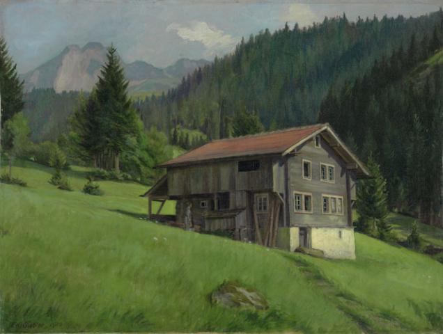Heinrich Eduard Gubler. «Haus in der Weid». Riedertal 1912. Oel auf Leinwand. 39 x 52 cm