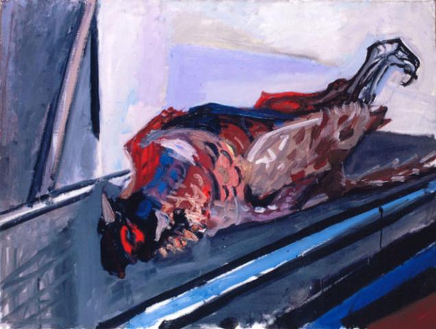Max Gubler. Liegender Fasan. 1957 Öl auf Leinwand. 89 x 116 cm