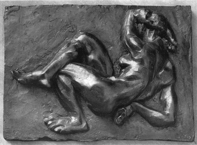 Ernst Gubler. Relief. Liegender Frauenakt. Um 1948-55 Bronze. 55,5 x 39 cm