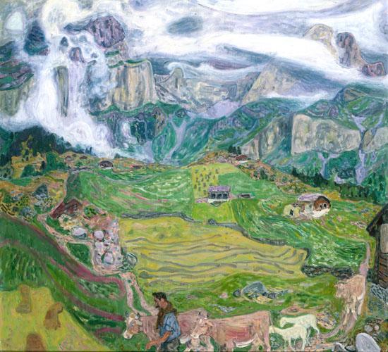 Eduard Gubler. Schattdorfer Bergen mit Burg und Fulen. Um 1955-60. Öl auf Leinwand. 100 x 110 cm