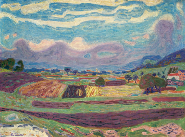Eduard Gubler. Weininger-Feld 1946/1947. Öl auf Leinwand. 60 x 81 cm