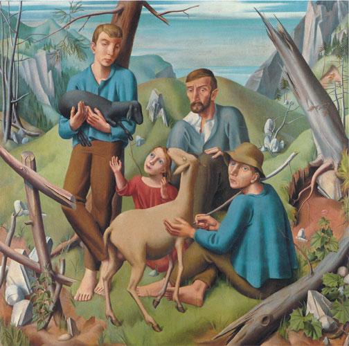 Eduard Gubler. Bergbauern mit Schafen 1922. Öl auf Leinwand. 149,5 x 149,5 cm