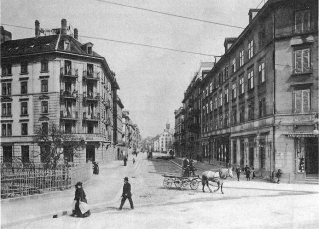 Langstrasse in Zürich-Aussersihl von der Badenerstrasse aus. Um 1910