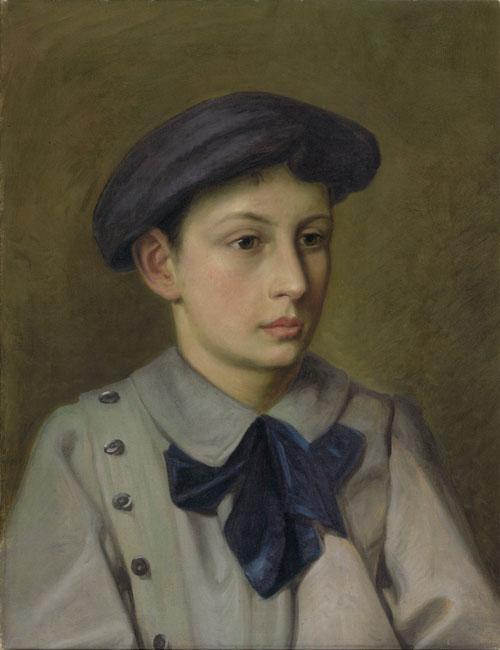 Heinrich Eduard Gubler. Knabenbildnis, Eduard. Um 1900. Oel auf Leinwand. 51 x 39,5 cm