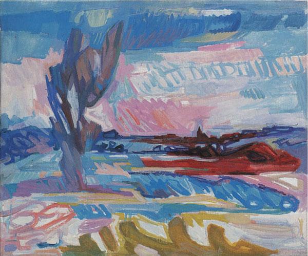 Ernst Gubler. Juralandschaft mit grossem Baum. Um 1957. Tempera auf Leinwand. 46 x 55 cm