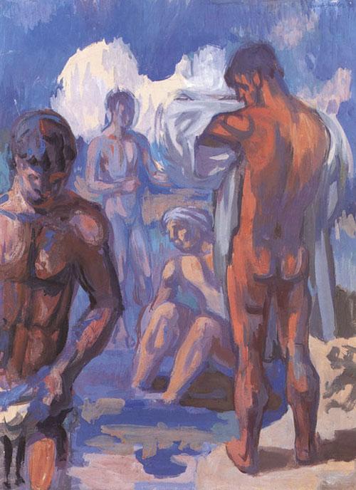 Ernst Gubler. Vier badende Männer in Landschaft. Um 1937. Tempera auf Pavatex. 73 x 54 cm